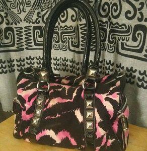 Black/Pink Zebra Striped Betsey Johnson Satchel